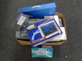A box containing a quantity of boxed electricals including mini cooker, mini colour TV,
