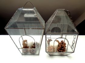 Two hanging leaded glass terrariums