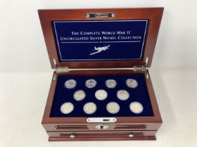 The Complete World War II Uncirculated Silver Nickel Collection, boxed.