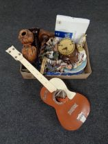 A box containing miscellaneous including anniversary clock, candlesticks, Elvis Presley guitar,