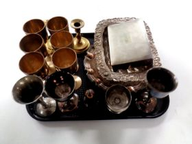 A tray containing plated goblets, pair of brass wrythen candlesticks,