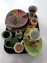 A tray containing a brass and onyx table lighter, collector's plates, Wedgwood green Jasperware,