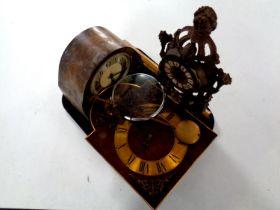 A tray containing Art Deco oak cased mantel clock, Tempus Fugit clock movement,