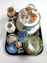 A tray containing Paragon Hamilton trio, Wedgwood blue Jasperware, porcelain trinket boxes,