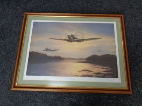 A signed limited edition print after Barry Price, Spitfire Sunset,
