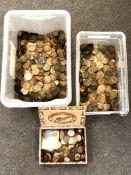 Two plastic tubs and a cigar box containing a large quantity of 19th century and later copper coins,