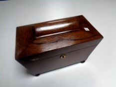 A Regency rosewood sarcophagus form tea caddy