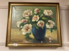 Continental school : Still life with flowers in a vase, oil on canvas,