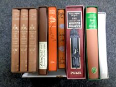 A box of Folio Society volumes including Lives of the Artist's Volumes I,