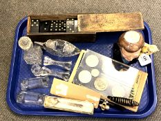 A tray of collectibles to include box of dominoes, a character jug depicting Sir Terry Wogan,