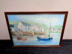 A contemporary oil on canvas depicting boats in a harbour