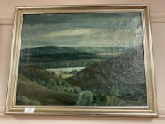 Continental school : A view across a valley, oil on canvas,