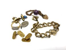 A small quantity of jewellery to include padlock bracelet, dress ring, miniature pen knife,