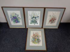 Four Henry Holzer watercolours, Spring, Summer, Autumn and Winter Flowers,