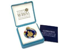 A Murano sterling silver gold plated pendant in box