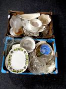 Two boxes of china, tea china, glass,
