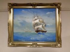 A contemporary oil on canvas depicting a three masted sailing ship in rough seas