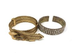 A gold plated bracelet and cuff bracelet