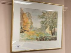 Continental school : A tree lined landscape, watercolour,