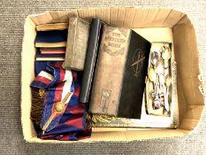 A box containing Masonic sash and apron, Masonic books, 19th century indenture in metal tin,
