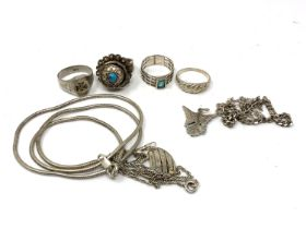A small quantity of silver and white metal jewellery to include rings,
