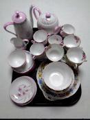A tray containing Roslyn Symphony bone china,