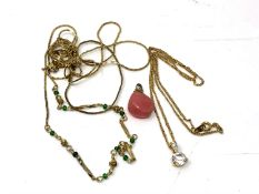 A quantity of gold plated chains,