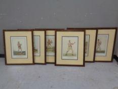 A set of six framed boxing prints