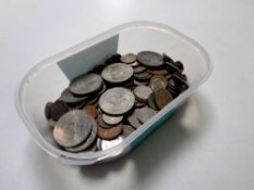 A tub containing a quantity of pre decimal coinage, crowns,