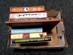 A box of approximately nine Folio Society and other volumes including Agatha Christie's Miss Marple,