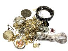 A quantity of costume jewellery, commemorative medallion,