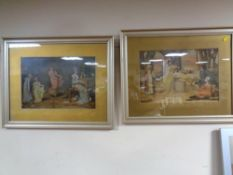 A pair of silvered framed prints depicting figures in Edwardian dress,