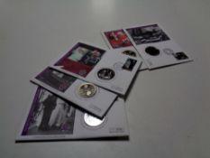 Six Diamond Wedding Anniversary commemorative coin covers