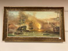 After George Chambers Senior : Bombardment of Algiers, oil on canvas, signed Meyer, 99 x 48 cm,