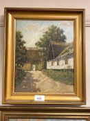 Continental school : A thatched barn, oil on canvas,