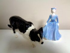 A Royal Doulton figure of a Border Collie together with a Coalport figure,