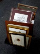 A box of assorted pictures and prints, scenes of Durham,