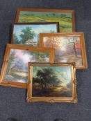 A collection of pictures and prints, gilt framed oil on board,