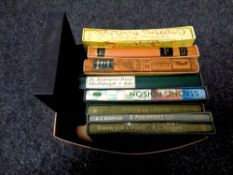 A box of Folio Society volumes including Travels with a Donkey by Robert Louis Stephenson,
