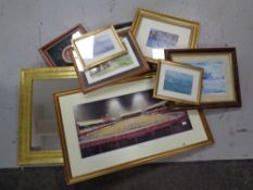 A box of assorted pictures and prints, gilt framed mirror,
