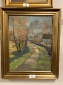 Continental school : A path by a canal, oil on canvas,