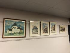Five colour prints depicting buildings in a town (5)