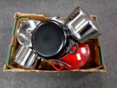 A box of cast cooking pot,