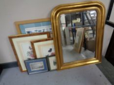 A group of framed pictures and prints, map of the British Isles, engravings,