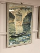 Jacques Delettry : Boat by a bridge, watercolour,