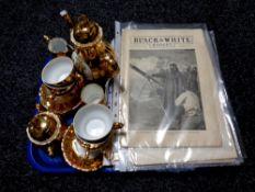 A tray containing Bondware gilt coffee china, miniature Staffordshire commemorative mug,