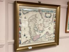 A coloured map depicting the Kingdom of Denmark,
