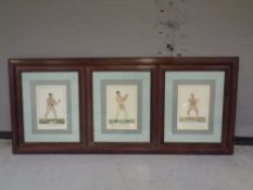 A large set of three framed boxing prints
