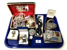 A tray containing costume jewellery, trinket boxes etc.