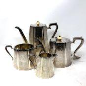A silver plated four-piece tea service.